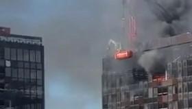Brüksel'de Dünya Ticaret Merkezi'nin çatı katında yangın çıktı